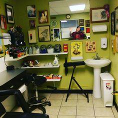 My new work station at Geneius Tattoos Tattoo Shop Decor, Tattoo Studio Interior, Tattoo Station, Tattoo Portfolio, Tattoo Equipment, Tattoo Parlors, Shop Interiors, Tattoos Shops, Studio Design