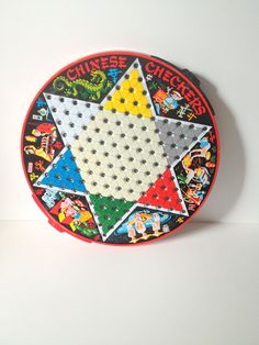 Vintage Chinese Checkers Game Metal by Steven Pixie Game from the 1960s Asian Graphics Checker Board with Drawers St. Louis