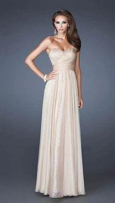Evening Dress - Champagne Long Dress Strapless (Prom Dress/Homecoming Dress/Champagne/Sexy/Floor Length)