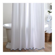 Found it at AllModern - Scalloped Pique Cotton Shower Curtain