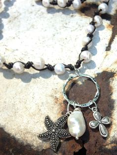 Hand Knotted Black Leather Necklace White by designsbysusandbs, $70.00