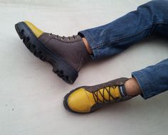 yellow brown shoes handmade Marapulai Sneakers US 10 men Hi top - pinned by pin4etsy.com