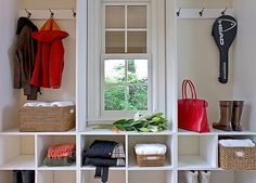 LOVE this....shallow built in around window for laundry. need cubbies for beachtowels, sunscreen, sunglasses, shoes