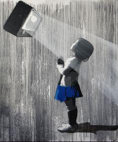 """KURAR street artist """"And the light is"""".  formatage de l'innocence meme et téléchargement de nouvelles idées et envies qui nous seraient indispensable !!!!"""