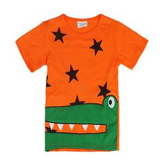 2015 New Lovely Crocodile Baby Children Boy Pure Cotton Short Sleeve T-shirt Top