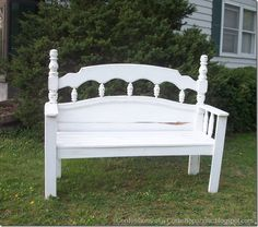 This woman is my hero! She re-purposes old headboards and turns them into cute little benches.