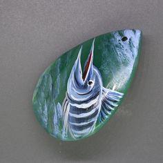 Creative Pendant Hand Painted Sailfish Natural Gemstone Pendants Beads ZL804914 #ZL #Pendant