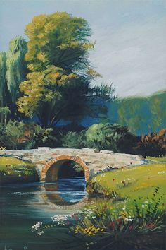 unknown title by Hoca Ali Riza. Landscape Artwork, Landscape Drawings, Art Drawings, Beautiful Paintings, Beautiful Landscapes, Nature Drawing, Mountain Paintings, Pastel Art, Watercolor Art