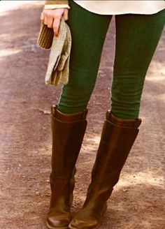 Team brown boots with green jeans