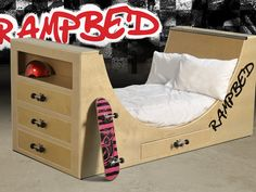 Rampbed - a skateboard bed where you can dream of being pro! by Gabe P. Jasso, via Kickstarter.