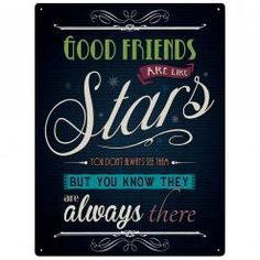 GOOD FRIENDS ARE LIKE STARS  Metal Wall Sign by Red Hot Lemon