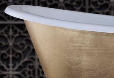 The finer detail of the hand gilded gold leaf Galleon.  #bathtubs #baths #bathrooms #luxurybathrooms #bespoke baths #interiordesign #bathroomdesign #gilding #copperleaf #goldleaf #luxurybathrooms Cast Iron Bath, Copper Bath, Roll Top Bath, Bathtubs, Gold Gilding, Gold Leaf, Bespoke, Bathroom Ideas, Bathrooms