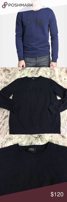 "APC Reverse Logo Crewneck Pullover Cotton, Crewneck, loose relaxed fit, logo graphic print, 24"" Sleeve, 44"" chest, 25"" length, has minor stain on front bottom( see photo) otherwise in good condition APC Sweaters Crewneck"