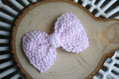 Large Pink Knit Hair Bow on Barrette Clip by IvyandOrchid on Etsy