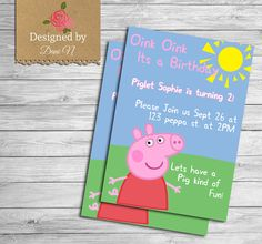 Peppa Pig Invitation by DesignedbyDaniN from Designed by Danin. Find it now at http://ift.tt/2cP2EDs!