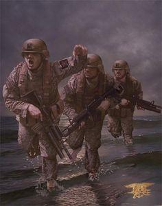 Danny também retrata fuzileiros navais do exército dos EUA em aquarela. Obras sempre ricas em detalhes - Reprodução/Facebook - Danny Quirk