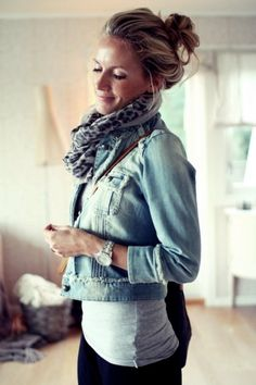 Messy Bun • Jean Jacket • Leopard Scarf- I actually wear this entirety of spring- you can match with different bottoms!