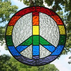 Rainbow Peace Sign Stained Glass Suncatcher by livingglassart