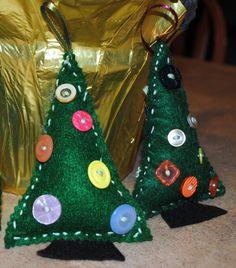Fingerprint Christmas Ornaments | Sewn Felt Christmas Tree Ornaments - idea from kirstikoo