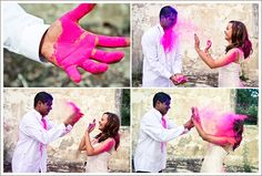 Trash your dress with this fun and creative idea. Using holi powder to make fun memories with the one you love. Use colored powder, safe powder.