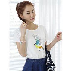 Korea Star Fashion 매력적인 뒷지퍼 블라우스 수채화같은프린트가 더욱 산뜻해요 컬러버드블라우스 - 23,400원 by 제이드