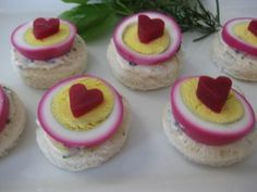 I made these for a baby shower, turned our lovely! Canape cutter for the beets, and soak hard boiled eggs in beet juice for an hour or two.
