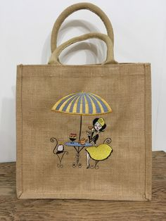 Excited to share this item from my shop: Ladies that lunch jute bag Hardanger Embroidery, Embroidery Thread, Jute Shopping Bags, Jute Bags, Fabric Bags, Paint Designs, Diy Clothes, Bag Making, Bag Accessories