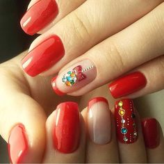 Classic red nails, French nail art, Ideas of evening nails, Manicure in red colors, Nails with rhinestones ideas, Nails with stones, New year nails ideas 2017, New Year's nails by a red dress