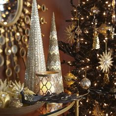 The apex of Christmas glam: A Pier 1 Art Deco-inspired Beaded Chevron Cone Tree with hand-placed glass beads.