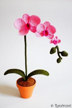 Häkelanleitung für eine hübsche Orchidee / diy knitting instruction for pretty flower by Renirumis Kleinigkeiten via DaWanda.com