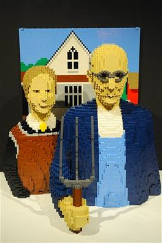 """Lego artist Nathan Sawaya's version of """"American Gothic"""" by Grant Wood."""