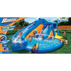 Banzai Pipeline Twist Aqua Park (Inflatable Dual Water Slide, Vortex Tunnel, Cannons and Oversized Pool, Multicolor