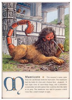 O mito da Mantícora era de origem Persa, onde seu nome significa ''O devorador de homens''Quando estava escondido, ele podia atrair as pessoas, fingindo ser apenas um homem barbudo, com sua cabeça fora de tocas, moitas e outros lugares...
