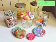 Geometrías Recortables: DIY Decoupage con servilletas y botes de cristal