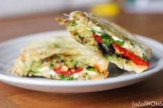 Eggplant Panini (I would go easy on the pesto or find a sub of something else, not the biggest pesto fan-could do this with zucchini and I would also use roasted tomatoes instead of peppers)