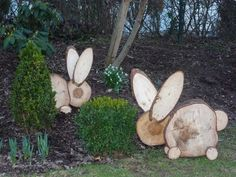 Deko Easter bunny Utilizing Containers For Indoor Gardening Gardening is a interest many individuals Fall Wood Crafts, Wood Slice Crafts, Wooden Crafts, Spring Crafts, Wood Yard Art, Wood Art, Christmas Decorations To Make, Christmas Crafts, Diy Ostern