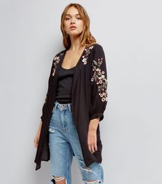 Black Floral Embroidered Kimono | New Look