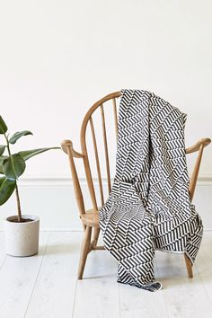 The Point Throw on a vintage Ercol chair. Photographed by Yeshen Venema. Ercol Chair, Weaving Textiles, Jacquard Weave, Cushions, Vintage, Furniture, Design, Home Decor, Homemade Home Decor