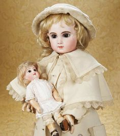 The Well-Bred Doll: 1 Gorgeous and Rare French Bisque Bebe E.J.,Size 1,by Emile Jumeau