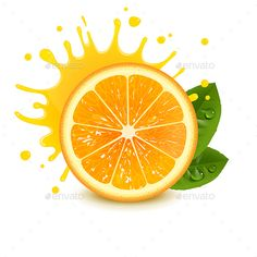 Buy Fresh Orange with a Splash of Juice by Vicgmyr on GraphicRiver. fresh orange with a splash of juice on a white background Juice Cafe, Fruit Logo, Orange Julius, Vintage Photo Frames, Watercolor Food, Chocolate Packaging, Color Pencil Art, Fruit Art, Food Containers