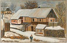 Josef Lada maloval tento obraz postupně mezi léty 1937 až 1941. Jedná se o zimní výjev z prostředí Ladových rodných Hrusic, s tradičními zasněženými chalupami a s chlapcem se sáňkami v popředí. Dílo začalo vznikat ještě v poklidné předválečné době a bylo dokončeno v pohnutých letech II. světové války. O tomto vývoji svědčí i několik přepracovaných detailů a nedůsledně přepsaná původní datace.