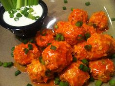 Buffalo Chicken Meatballs... obviously I have a thing for buffalo chicken anything.