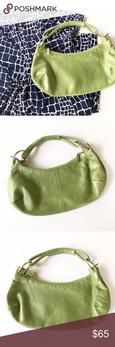 HOBO International Green Purse HOBO International green purse with orange interior. One spot inside pictured. EUC. Main zipper closure and two interior pockets, one with a zipper closure. Silver hardware. One strap that can go over your shoulder. Approximately 7in x 14in. HOBO Bags