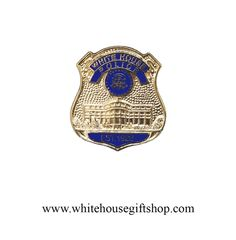 White House Police Lapel Pin, 22KT Gold Plated Brass & Blue Enamel, 3/4