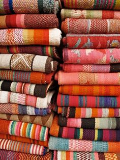 Colorful wool blankets - these are beautiful and vibrant.