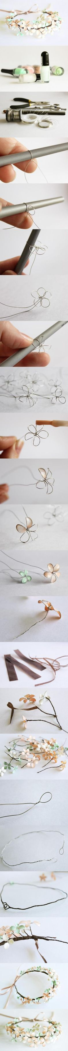 Make Flowers with wire and nail polish