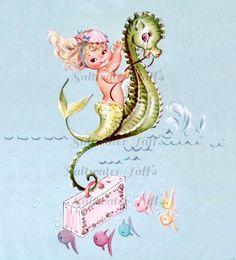 Vintage Baby Mermaid Card Digital Downloads for  transfer decoupage pillows tote ocean blue mermaid image mermaid picture clipart sea horse