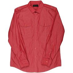 INC 2063 Mens Red Studded Adjustable Sleeves Solid Button-Down Shirt L Retail Price $59.00