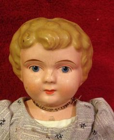 "Antique 11"" Minerva Germany China Doll. Metal Shoulder Head. Cloth Body. 