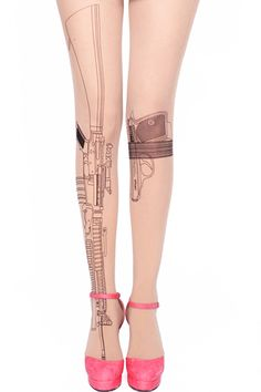 ROMWE | Gun Print Nude Tights, The Latest Street Fashion